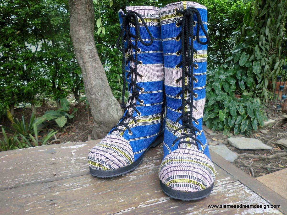 Britta Womens Combat Boots In Blue Ethnic Karen Textiles - product images  of