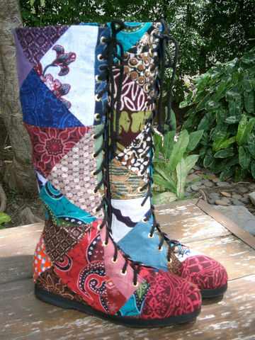 Sadie,Womens,Tall,Boots,In,Indonesian,Batik,Patchwork,Clothing,Shoes,Womens boho boots,Vegan_Boots, patchwork boots,Tribal_Boots,Unique_Boots,Handmade_Boots,Womens_Boots,bohemian boots,vegan