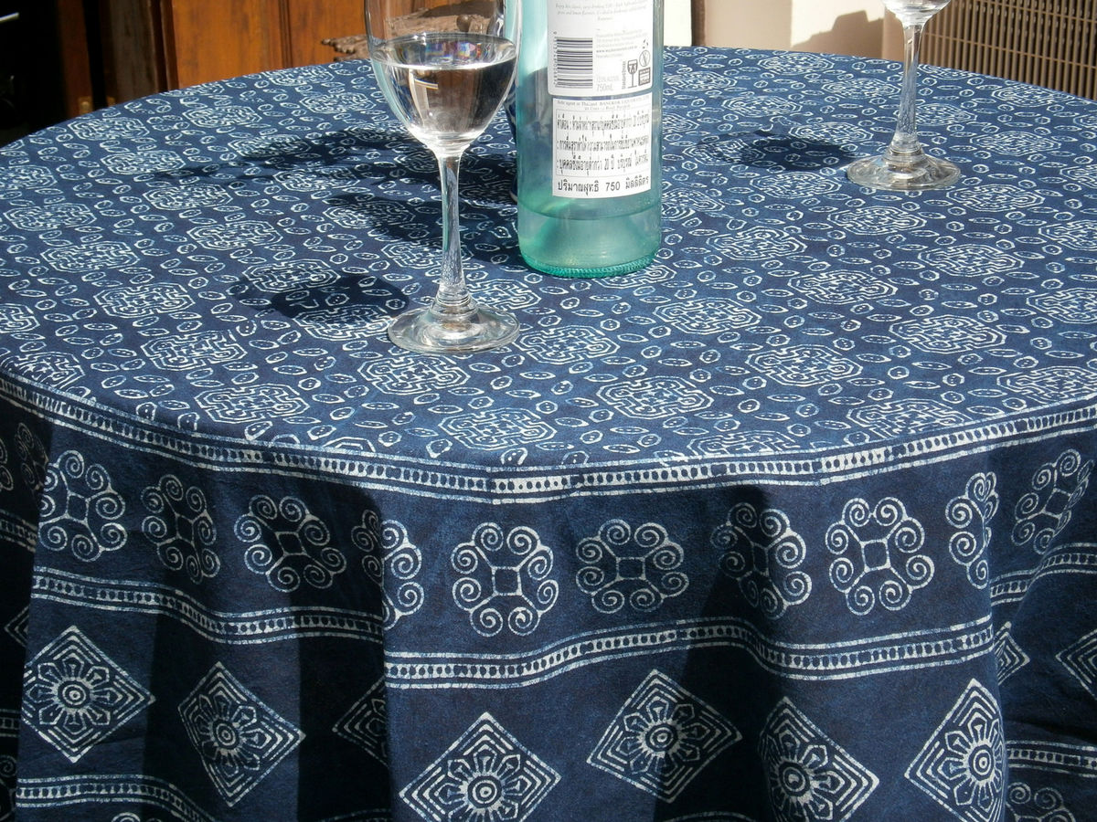 ... Round Table Cloth In Hmong Indigo Batik Cotton 90, 75 Or 60 Inches    Product ...