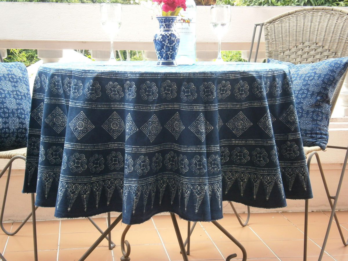 Round Table Cloth In Hmong Indigo Batik Cotton 90, 75 or 60 Inches - product images  of