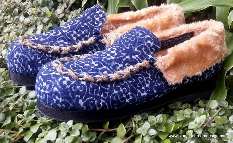 Riley - Moccasin Style Womens Slippers In Natural Hmong Indigo Batik - product images  of