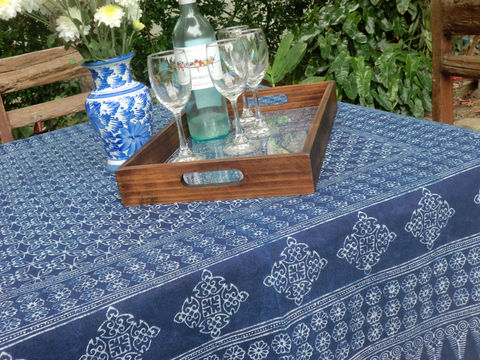 Hmong,Batik,Tablecloth,In,Indigo,Cotton,60,,75,or,90,inch,Square,boho tablecloth, batik tablecloth, Hmong indigo batik tablecloth, square tablecloth, blue cotton tablecloth, garden party decorations, garden wedding table, boho home decor, vineyard wedding tables