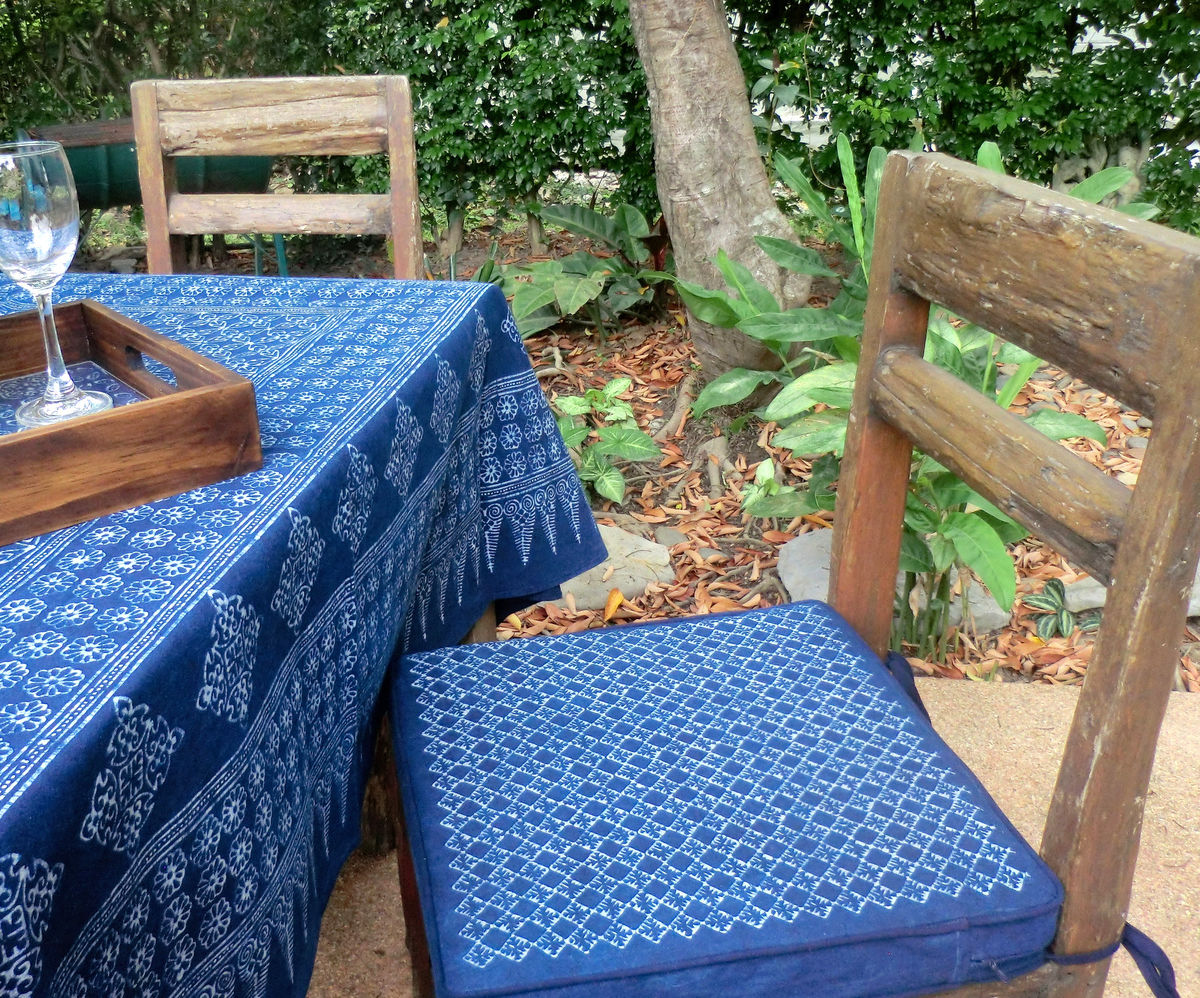 Chair Cushions In Indigo Batik With Eco Friendly Inserts