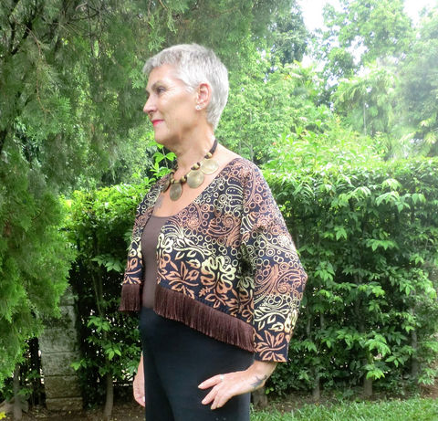 Ava,-,Cropped,Women's,Kimono,Jacket,With,Fringe,In,Indonesian,Batik,Boho kimono, short kimono jacket, womens jacket with fringe, Batik jacket, short brown jacket, slow fashion, fair trade jacket