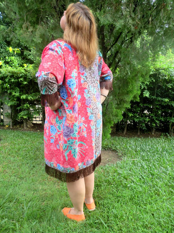 Naomi,-,Red,Indonesian,Batik,Long,Kimono,Jacket,Boho kimono, long kimono jacket, long red womens jacket with fringe, floral Batik jacket, long red batik jacket, slow fashion, fair trade jacket