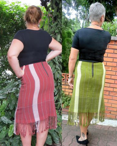 Annika,-,Handwoven,Women's,Fringed,Skirt,womens boho skirt, mature womens fashion, fringed skirt, handwoven womens skirt, green, brown, eco fashion, ethnic clothing, fair trade fashion, cruelty free fashion,free shipping, worldwide shipping