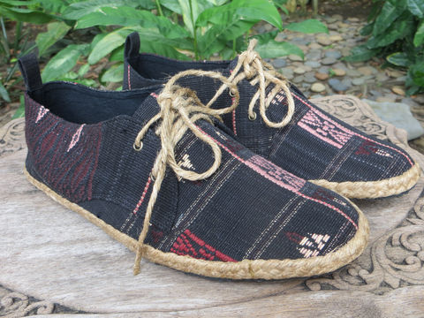 Matt,-,Mens,Casual,Sneaker,Shoe,In,Black,Tribal,Naga,Textiles,mens shoes, vegan mens shoes, ethnic shoes, mens tribal shoes, handmade mens oxfords, cruelty free fashion, eco friendly shoes, fair trade, mens fashion,mens Tribal shoes