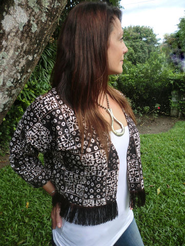 Ava,-,Cropped,Women's,Kimono,Jacket,With,Fringe,In,Authentic,Jogjakarta,Batik,Boho kimono, short kimono jacket, womens jacket with fringe, ethical clothing, Batik jacket, short brown jacket, slow fashion, fair trade jacket
