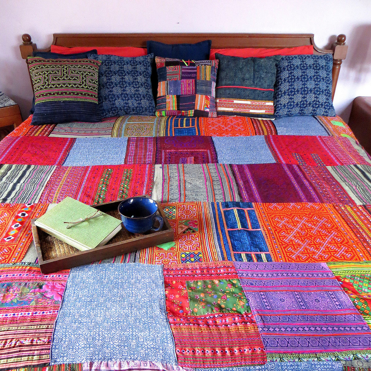 Bed sheet design patchwork - King Patchwork Duvet Vintage Hmong Batik And Embroidery Duvet Cover