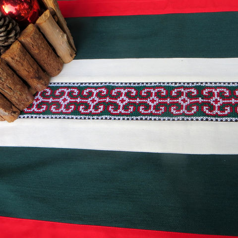 Christmas,Table,Runner,-Hmong,Embroidered,Center,Piece,Christmas tablecloth, Hmong Christmas tablecloth, embroidered Christmas tablecloth, Ethnic Christmas tablecloth, Babies Christmas blanket