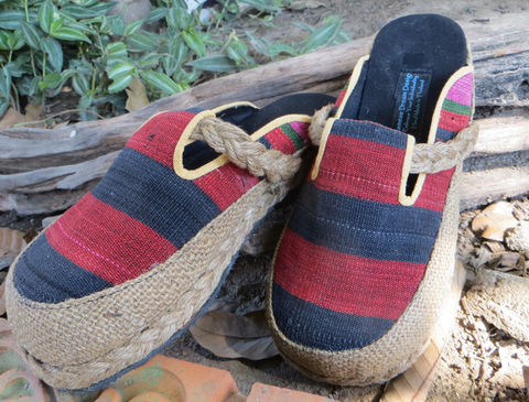 Sydney,Womens,Slide,Shoes,in,Red,&,Black,Naga,Textiles,Clothing,Women,womens_shoes,vwomens vegan shoes ,shoes,womens slip_on shoes,slides,embroidered,clogs,ethnic_shoes,clothing,slip_on_shoes,9,casual_shoes,cotton,ethnic embroidery,rope,rubber