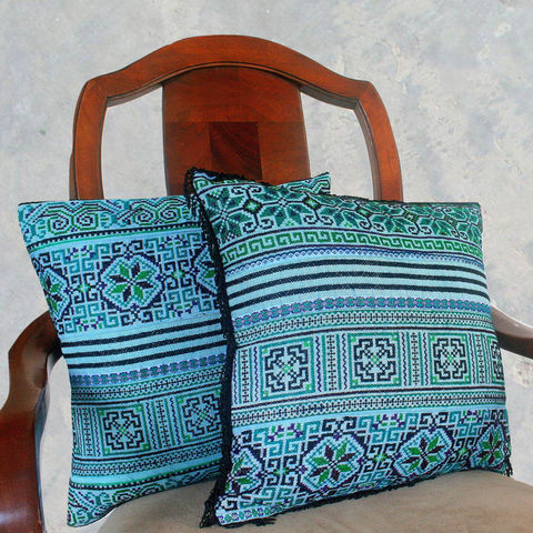 Ethnic,Hmong,Pillows,/,Embroidered,Teal,And,Black,16,,Boho,Cushions,With,Fringe,Or,Without,Boho Pillow,Embroidered pillow, embroidered Cushion,teal boho pillow,Tribal,Hmong_Pillow,Hmong_Cushion,Pillow_Cover,Cushion_Cover,Ethnic_Pillow,bohemian pillows,throw_pillow,decorative,blue_pillow,cotton,Ethnic Hmong embroidery,indigo batik pillow