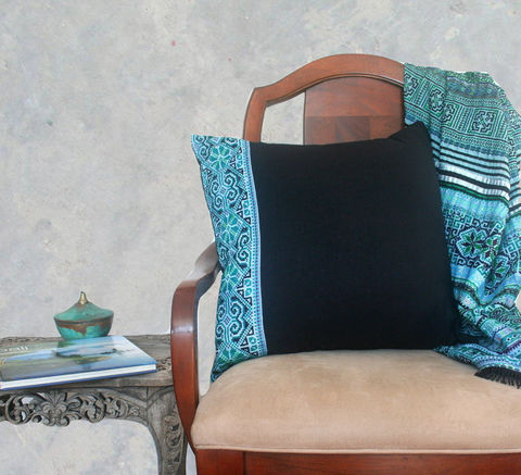 20,Teal,Embroidery,On,Black,Hmong,Pillow,/,Cushion,Cover,Housewares,teal boho Pillow,Embroidered,Hmong Cushion,Tribal,Hmong_Pillow,boho pillows Hmong_Cushion,Pillow_Cover,Cushion_Cover,Ethnic_Pillow,Floor_Pillow,Floor_Cushion