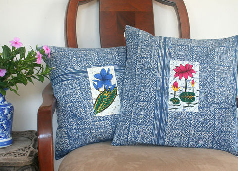 Indigo,Batik,Ethnic,Hmong,Pillow,With,Sri,Lankan,Floral,Inset,floral pillow, blue and white cotton pillow,indigo batik Pillow,indigo batik Cushion,Hmong_Pillow,Hmong_Cushion,Pillow_Cover,Cushion_Cover,Ethnic_Pillow,Throw pillow,boho Home_Decor,batik_cushion,indigo batik