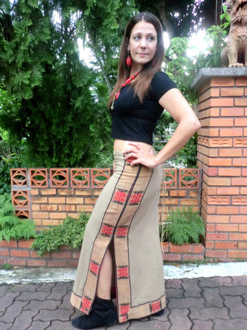 Lea,,Tribal,Naga,Womens,Slit,Maxi,Skirt,With,Back,Lace,In,5,Colors,slit maxi skirt, ethnic skirt, long skirt, tribal womens skirt, boho maxi skirt with slits, womens cotton skirt, brown skirt, blue skirt, pink skirt, red skirt, purple skirt, long bohemian skirt, womens boho skirt