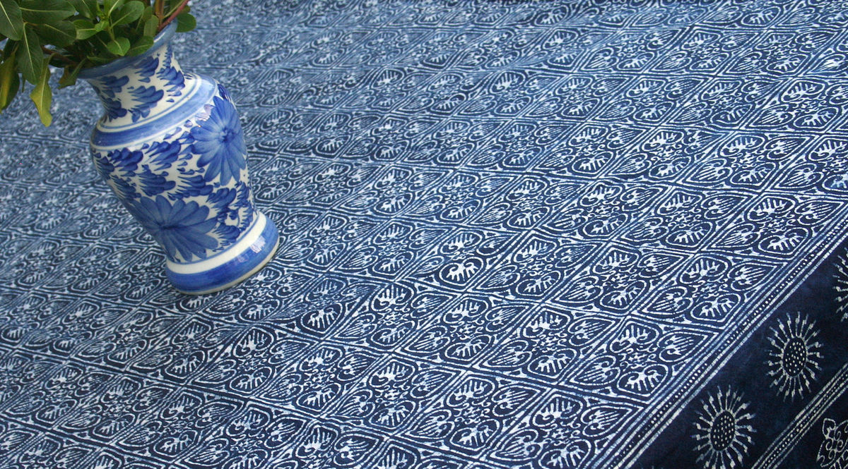 Square Table Cloth In Hmong Indigo Batik Cotton 60, 75 or 90 Inch - product images  of