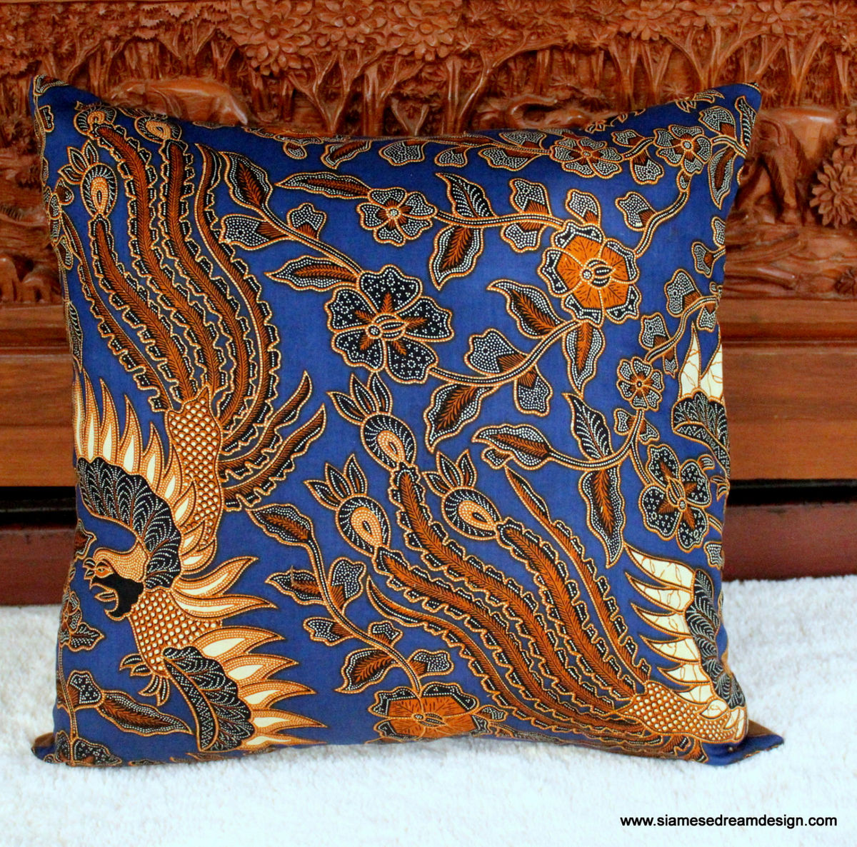 Balinese Batik Birds Pillow / Cushion Cover 16 Or 20 inch - product images  of