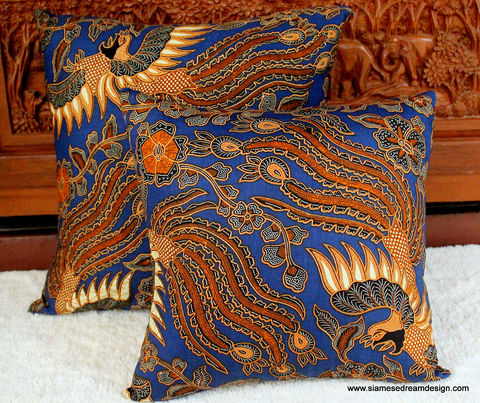 Balinese,Batik,Birds,Pillow,/,Cushion,Cover,16,Or,20,inch,Housewares,boho Pillow,Cotton,pillow_cover,cushion_cover,Bali birds pillow,Natural_Cotton,throw_pillow,ethnic,eclectic_decor,batik,pillow,Bali batik,cotton batik