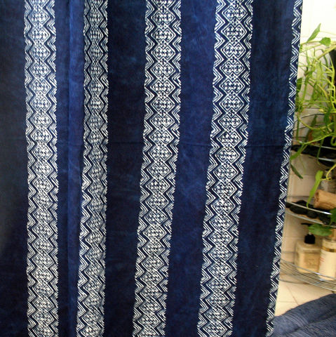 Tribal,Stripes,Shower,Curtain,In,Natural,Plant,Dyed,Hmong,Indigo,Batik,indigo batik shower curtain, blue shower curtain, fabric shower curtain, ethnic, boho shower curtain, ethical, fairtrade