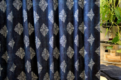 Hmong,Indigo,Batik,Fabric,Shower,Curtain,,Natural,Plant,Dye,indigo batik shower curtain, blue shower curtain, fabric shower curtain, ethnic, boho shower curtain, ethical, fairtrade