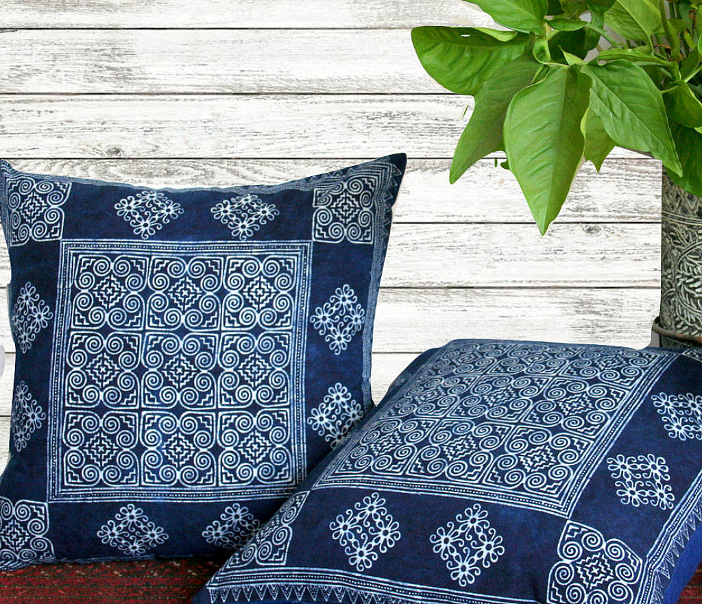 hmong indigo batik large pillow ethnic cushion cover or floor pillow 20 inch product