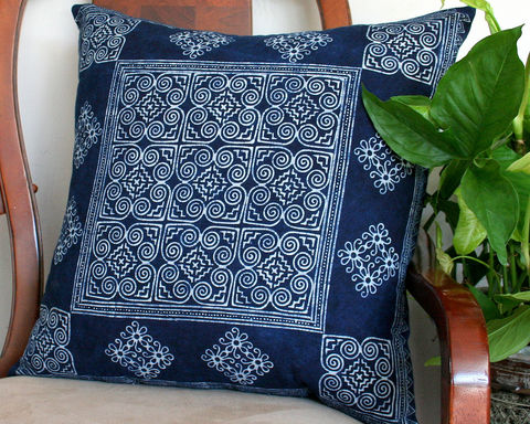 Hmong,Indigo,Batik,Large,Pillow,,Ethnic,Cushion,Cover,Or,Floor,Pillow,20,Inch,blue and white cotton pillow,indigo batik Pillow,indigo batik Cushion,Hmong_Pillow,Hmong_Cushion,floor Pillow_Cover,Cushion_Cover,Ethnic_Pillow,Throw pillow,boho Home_Decor,batik_cushion,natural indigo plant dyed batik, fair trade, eco friendly