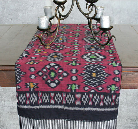 Table,Runner,In,Hand,Woven,Indonesian,Ikat,Deep,Red,And,Black,With,Fringe,Ends,Boho decor,7 foot Table Runner,Indonesian ikat table runner,tribal accent,Red batik boho table_runner,dresser_runner, Boho home decor, Fairtrade ethnic