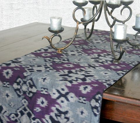 Table,Runner,In,Hand,Woven,Indonesian,Ikat,Purple,And,Black,With,Fringe,Ends,Boho decor,Table Runner,Indonesian ikat table runner,tribal accent,purple ikat boho table_runner,dresser_runner, Boho home decor, Fairtrade ethnic