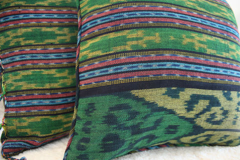 Green,Hand,Woven,Ikat,Pillows,,30,Inch,Floor,Pillows,Or,16,Throw,green pillow,boho Pillow,boho Cushion,green ikat_Pillow,fringed floor Cushion,Pillow_Cover,Cushion_Cover,Ethnic_Pillow,Floor_Pillow,Floor_Cushion,Large_Pillow,Bohemian_decor,decorative_pillows