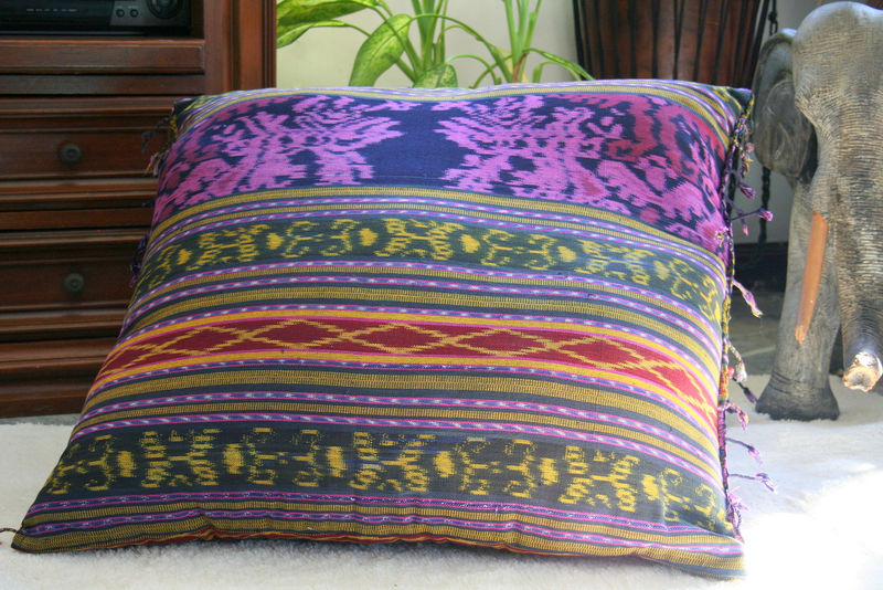 Berry Hand Woven Ikat Pillows, 30 Inch Floor Pillows Or 16 Inch Throw Pillows - Siamese Dream Design