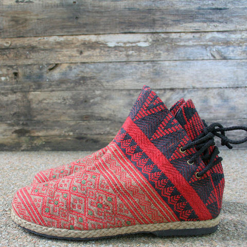 Amber,Tribal,Womens,Ankle,Boots,In,Red,Ethnic,Naga,Womens tribal boots, vegan ankle boots, womens short boots, ethnic boots, Naga textiles, womens vegan boots, eco friendly fashion, womens ethical boots