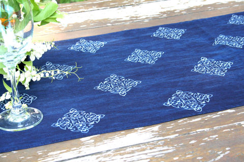 Table,Runner,In,Hmong,Indigo,Batik,Hmong indigo batik table runner, boho table runner, long indigo batik table runner, ethnic home decor, 5 foot table runner, bohemian table