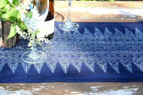 Table,Runner,In,Hmong,Indigo,Batik,Tribal,Stripes,Hmong indigo batik table runner, boho table runner, long indigo batik table runner, ethnic home decor, 5 foot table runner, bohemian table