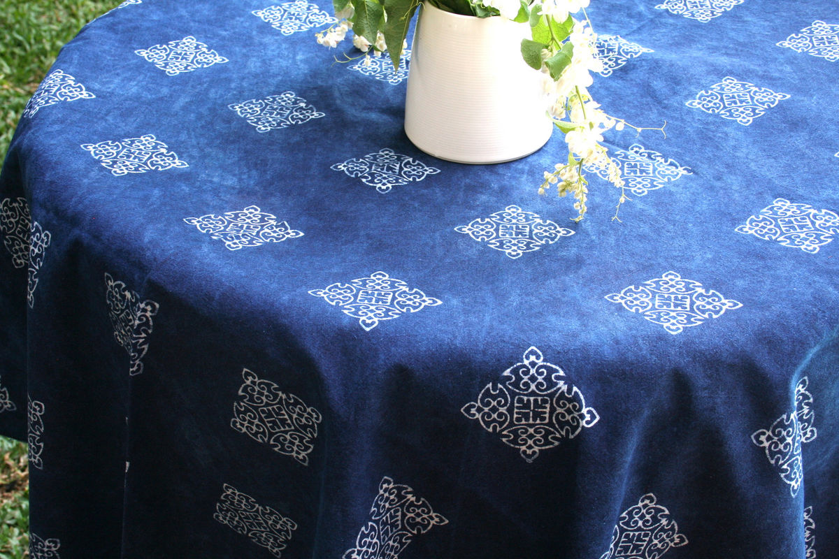 ... Hmong Indigo Batik Cotton Table Cloth 60, 75 Or 90 Inches Round    Product Images ...
