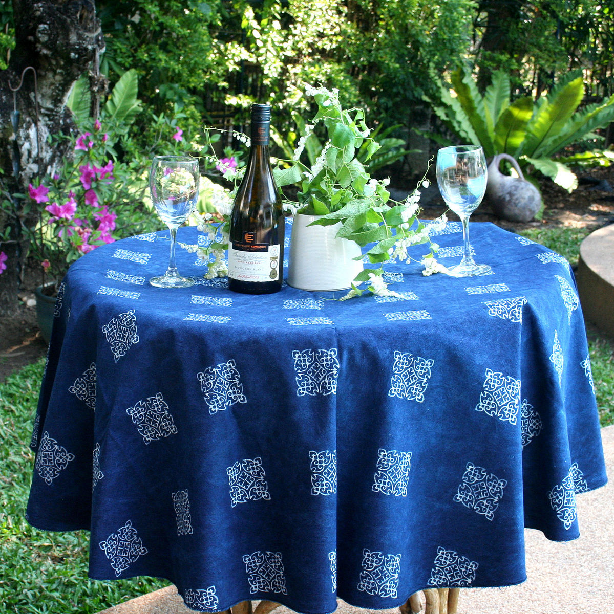 Hmong Indigo Batik Cotton Table Cloth 60, 75 Or 90 Inches Round  - product images  of