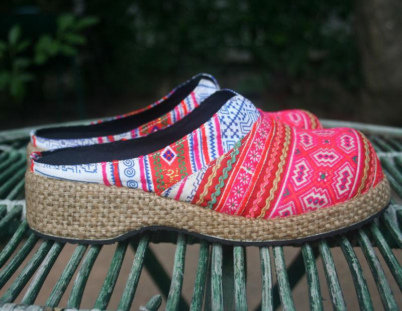 s clogs bright colorful batik embroidery hmong