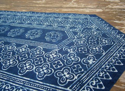 Table,Runner,In,Natural,Hmong,Indigo,Blue,Batik,60,Inch,boho decor,garden party decorations,Table linens,Hmong table Runner,Hmong indigo batik,garden wedding ideas,boho wedding,accent,indigo batik table_runner,dresser_runner,indigo,natural,cotton,blue,batik,natural indigo dye