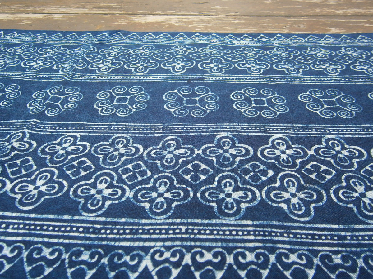 Table Runner In Natural Hmong Indigo Blue Batik 60 Inch - product images  of