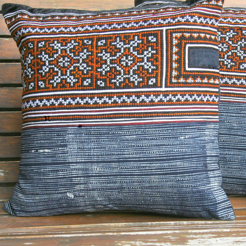 Ethnic,Hmong,Pillows,/,Embroidered,Caramel,And,Indigo,16,,Boho,Cushions,Boho Pillow,Embroidered pillow, embroidered Cushion, indigo batik boho pillow,Tribal,Hmong_Pillow,Hmong_Cushion,Pillow_Cover,Cushion_Cover,Ethnic_Pillow,bohemian pillows,throw_pillow,decorative,blue_pillow,cotton,Ethnic Hmong embroidery,indigo batik pi