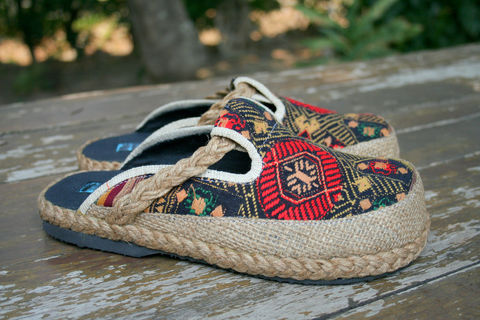 Sydney,Womens,Embroidered,Shoes,in,Ethnic,Laos,Textiles,Clothing,Women,womens_shoes,vegan,shoes,slip_ons,slides,embroidered,clogs,ethnic_shoes,clothing,slip_on_shoes,Naga,9,casual_shoes,cotton,ethnic embroidery,rope,rubber
