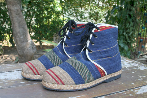 Jacob,-,Mens,Vegan,Boots,In,Blue,Ethnic,Naga,Shoes Men,Mens vegan boots,Tribal Mens_Vegan_Shoes,hand made mens boots,vegan_boots,short_boots,mens_wear,eco_friendly fashion,Tribal_Mens_Boots,Boho_man,Naga tribal woven cotton