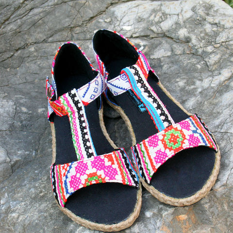 Lindsay,T-Strap,Womens,Sandals,In,Colorful,Hmong,Embroidery,Clothing,Shoes,womens boho Sandals,Ethnic sandals,Vegan,Embroidered,Womens embroidered Sandal,Vegan_Shoes,Tribal_Shoes,Womens_Shoes,Womens_Sandal,10,cotton,natural cotton,embroidered,batik,vegan