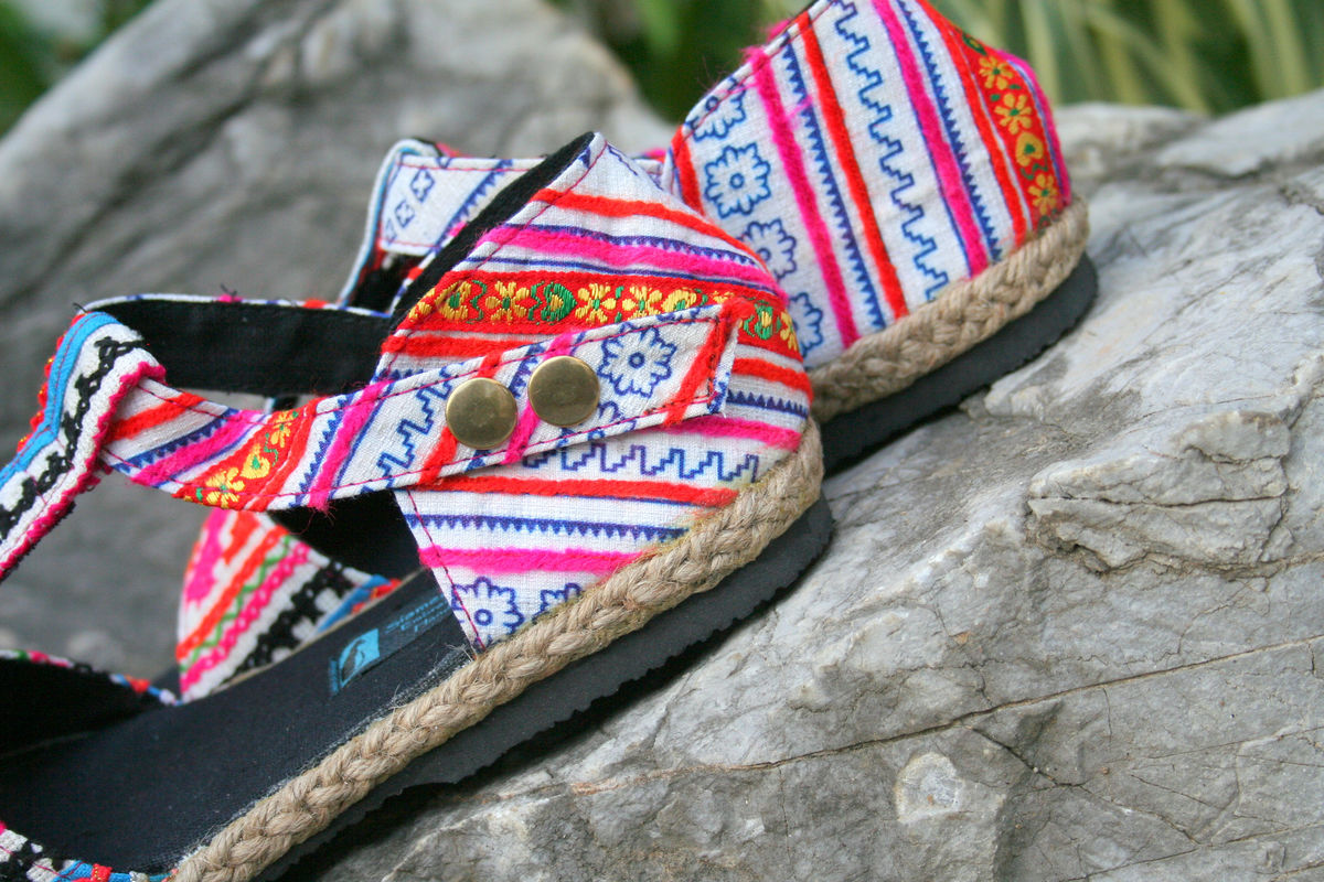 Lindsay T-Strap Womens Sandals In Colorful Hmong Embroidery  - product images  of