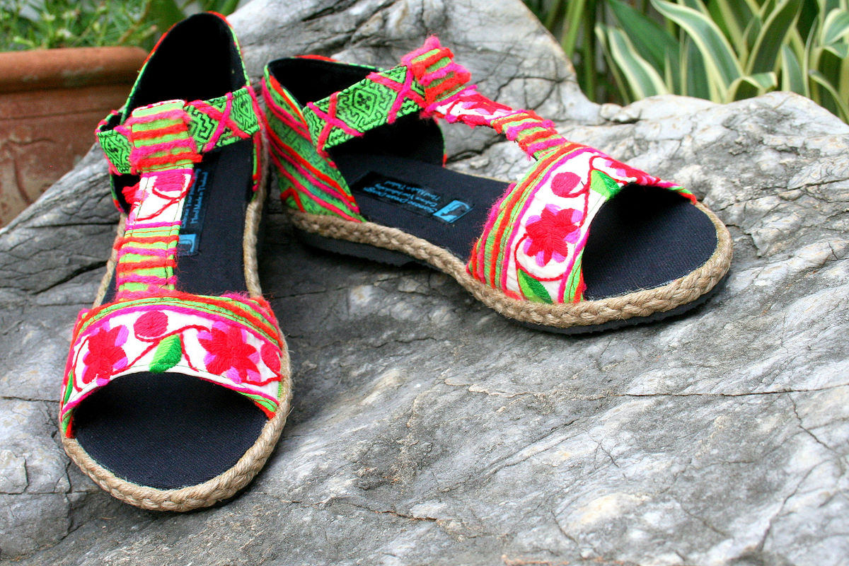 Lindsay T-Strap Womens Sandals In Colorful Hmong Floral Embroidery  - product images  of