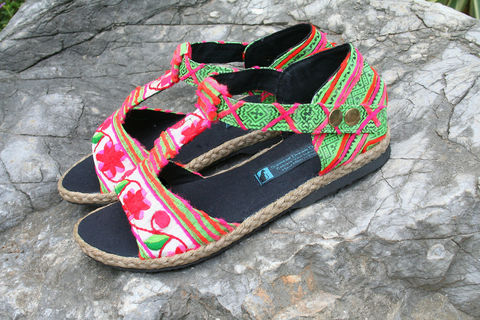 Lindsay,T-Strap,Womens,Sandals,In,Colorful,Hmong,Floral,Embroidery,Clothing,Shoes,womens boho Sandals,Ethnic sandals,Vegan,pink and green Embroidered sandals, Hmong,Womens embroidered Sandal,Vegan_Shoes,Tribal_Shoes,Womens_Shoes,Womens_Sandal,10,cotton,natural cotton,embroidered,batik,vegan