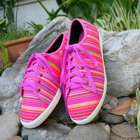 Jamie,-,Funky,Womens,Sneaker,in,Colorful,Ethnic,Hmong,Textiles,Clothing,womens vegan Shoes, womens sneakers, colorful womens trainers, womens pink summer shoes, colorful womens_Vegan_Shoes, womens_pink vegan shoes,ethnic_shoes,casual_shoes