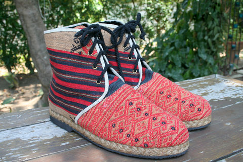 Jacob,-,Vegan,Mens,Boots,In,Red,Tribal,Naga,Textiles,Shoes Men,Mens vegan boots,Tribal Mens_Vegan_Shoes,hand made mens boots,vegan_boots,short_boots,mens_wear,eco_friendly fashion,Tribal_Mens_Boots,Boho_man,Naga tribal woven cotton