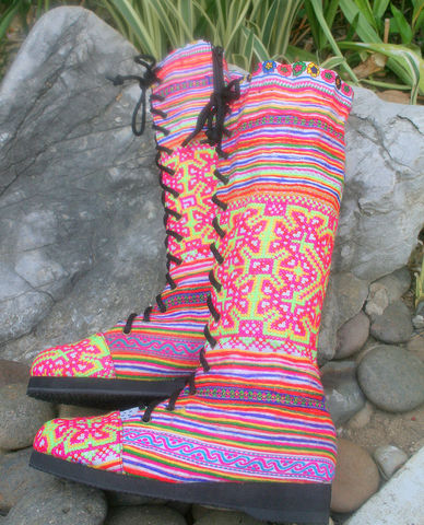 Sadie,-,Womens,Tall,Boots,In,Brilliant,Hmong,Embroidery,Clothing,Shoes,Womens boho boots,Vegan_Boots,purple boots,Tribal_Boots,Unique_Boots,Handmade_Boots,Womens_Boots,clothing,bohemian,ethnic_shoes,womens_shoes,boots,vegan,laces,cotton,batik