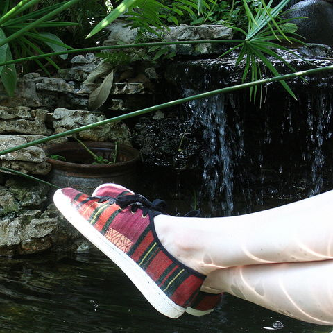 Jamie,-,Funky,Womens,Sneaker,in,Striped,Handwoven,Naga,Textiles,Clothing,womens vegan Shoes, womens sneakers, colorful womens trainers, womens pink summer shoes, colorful womens_Vegan_Shoes, womens_pink vegan shoes,ethnic_shoes,casual_shoes