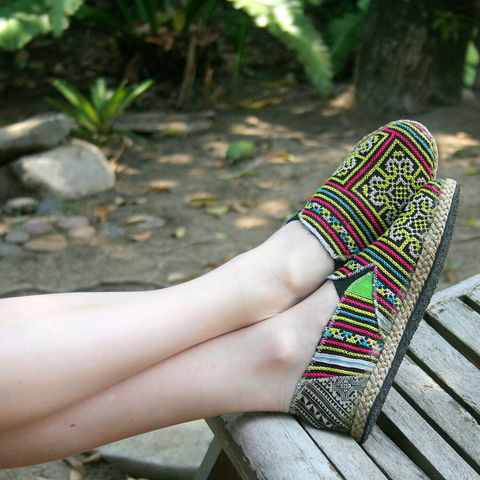 Morgan,Colorful,Womens,Loafers,In,Yellow,Hmong,Embroidery,Clothing,Shoes,Womens vegan Loafers,Vegan espadrilles,ethnic_shoes,casual_shoes, ethical womens_shoes,Hmong_shoes,womens_flats,embroidered_shoes,Bohemian,7_5,summer_shoes,rubber sole,vegan,Hmong embroidered cotton,rope trim